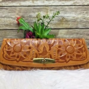 Artisan Tan Brown Hand Tooled Leather Clutch